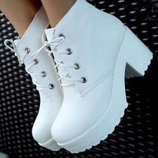 Women Punk Rock Lace Up Platform Heels Ankle Boots Thick Heel Platform Shoes F