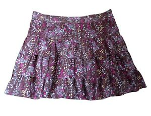 Next Tiered Brown Floral Print Skirt Size 12  Layered Lined Floaty