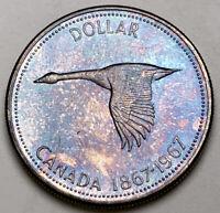 1967 CANADA SILVER DOLLAR GOOSE CHOICE BU TONED UNC COLOR GEM #52 (DR)