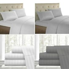 40CM DEEP 100% EGYPTIAN COTTON WHITE STRIPE FITTED SHEET DOUBLE SUPER KING SIZES