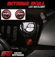 Rock Crawler RED LED Headlight DRL+Hi+Lo Beam+Cree fit 07-17 Jeep JK Wrangler