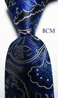 New Classic Paisley Blue Black White JACQUARD WOVEN 100% Silk Men's Tie Necktie
