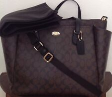 COACH Signature Multifunction Diaper Baby Bag Tote F35414 Brown/Black NWT