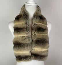 OGGI ITALY Beige Genuine Chinchilla Real Fur Scarf Coat Collar Wrap Stole