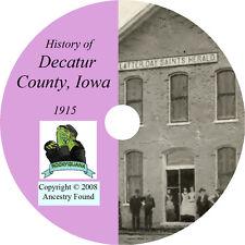 1915 DECATUR County Iowa IA, - History & Genealogy - Lamoni Leon - CD DVD