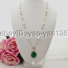 K090606 26'' White Rice Pearl Green Crystal Chain Necklace Keshi Pearl Pendant
