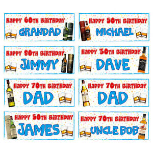 2 PERSONALISED - WHISKY BIRTHDAY BANNERS - ANY NAME - ANY AGE