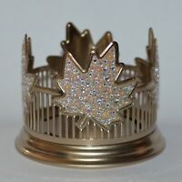 BATH BODY WORKS GOLD BLING MAPLE LEAVES LARGE 3 WICK CANDLE HOLDER SLEEVE 14.5OZ