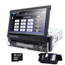 Single 1Din Car Stereo Radio DVD Player Bluetooth GPS Navigation with Map+Camera