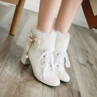 New Women Round Toe Block Heels Warm Fur Ankle boots Sweet Lolita Bowknot Shoes