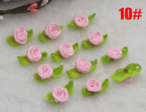 100Pcs Pink Satin Ribbon Rose Rosebud Flower Leaves Applique Dress Trim Craft