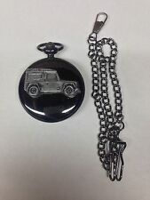 Land Rover Defender ref115 emblem polished black case mens pocket watch