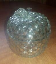 Diamond pattern clear glass apple candy dish
