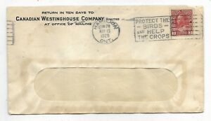 Slogan Cancel PROTECT THE BIRDS AND HELP THE CROPS franked with coil stamp #130