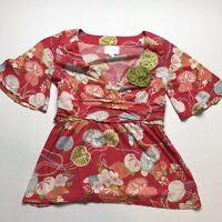 Anthropologie Deletta Red Floral Leaf Print Kimono Top Size XS A184