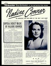 1942 Nadine Conner photo opera singing recital tour trade booking ad