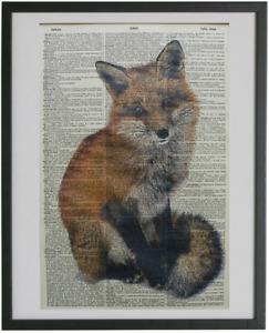 Fox No.60, woodland animals, dictionary prints, farmhouse decor