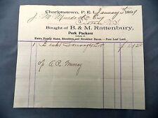 Letterhead Advertising B&M Rattenbury Pork Curers 1897 PEI to Murdoch Pictou NS