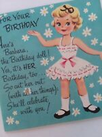 UNUSED Vtg BARBARA PAPER DOLL & Clothes Uncut BIRTHDAY GREETING CARD
