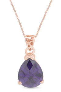 0.35 CT Simulated Amethyst Dancing Solitaire Pendant Necklace 14k Rose Gold Over
