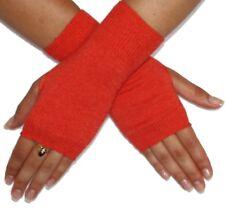 "Silk Cashmere knit Fingerless Warm Gloves Orange 8"" long OneSize Unisex"