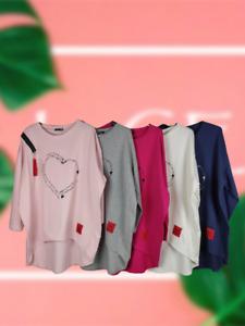 NEW Oversize Womens RED LABEL Text HEART Lagenlook PLUS SIZE Sweatshirt Top