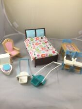 Fisher Price Doll House Furniture Bed Highchairs Toilet Swings Rocking Chair