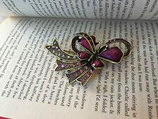 New Resin Rhinestone vintage Purple flower Butterfly brooch