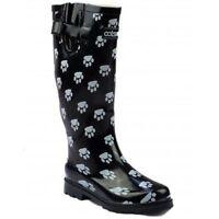 Cotswold Dog Paw Wellies Womens Ladies Black Adjustable Wellington Boots UK3-8