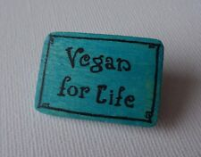Vegan Brooch Badge Pin Vegan for Life Handcrafted Wooden Green Blue Handmade