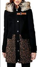 Karen Millen coat black leopard wool blend Parka Fur Hooded Jacket SIZE UK 10