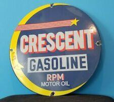 VINTAGE CRESCENT GASOLINE PORCELAIN MOON GAS SERVICE STATION PUMP PLATE SIGN