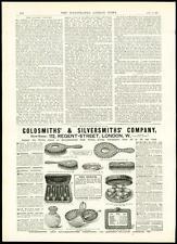 1889 Antique Print ADVERTISING Goldsmiths & Silversmiths Jewellery (301)