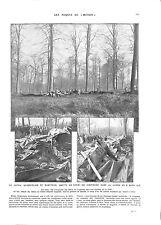 WWI Crash Avion Aircraft Quadriplace Gotha Forêt de Compiègne ILLUSTRATION