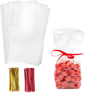 Cello Cellophane Treat Bags,5.9x11.8 Inches Cellophane Bags 200 Pcs with Twist