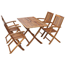 Dining Table and 4 Folding Chairs Outdoor Patio Acacia Wood Garden Furniture Set