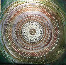 GRANDE Rame Bronzo Oro Bead Impreziosito Verde Marrone foto su tela arte NUOVO