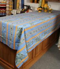 NON COATED 100% COTTON 60x80 OLIVES BLUE FRENCH PROVENCE TABLECLOTH & 6 NAPKINS