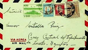 PERU 1954 4v SHIP, PRO-DESOCUPADOS, EDUCATION ON AIRMAIL COVER TO IQUITOS