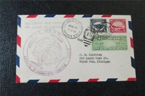 nystamps US Air Mail # C5,C6 Used On Zeppelin Flight Cover Signed Rare  F26x1822