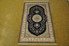 3' x 5' Discounted Oriental Rugs Silk Tabriz Navy Blue Hand-Knotted Rug