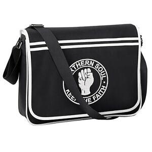 Unisex Northern Soul Retro Messenger Bag With Embroidered Fist Logo. Mod, Ska