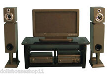 HOME CINEMA SET SILVER PLASMA SCREEN TV FOR DOLLS HOUSE 12TH SCALE