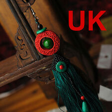Single Red Lacquer Circlet & Green Tassel Earring with chinese silk gift bag UK