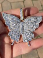 """Solid 925 Silver 14k Gold Finish HUGE Iced 2.5"""" Butterly HipHop Pendant Necklace"""