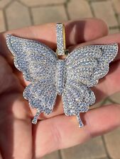 "Solid 925 Silver 14k Gold Finish HUGE Iced 2.5"" Butterly HipHop Pendant Necklace"