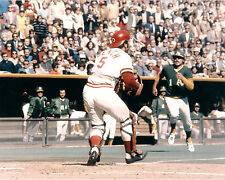 JOHNNY BENCH WAITS TO PUT TAG ON GENE TENNACE  8x10 REDS, A'S