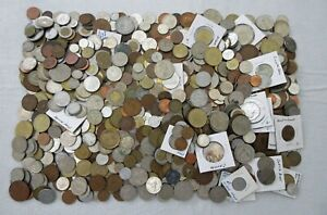 10+ POUNDS of OLD WORLD COINS, TOKENS, MEDALS (INTERESTING LOT) SEE PICS>NO RSRV