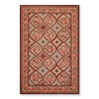 "5'5"" x 8'5"" Hand Hooked French Aubusson 100% Wool Oriental Area rug Burgundy"