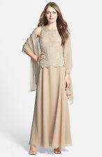New J KARA Embellished Beaded Mock 2 Pc Chiffon Gown Dress w/ Scarf Blush 12